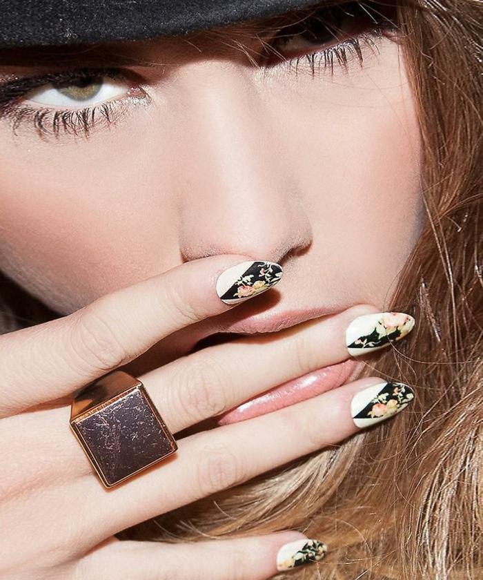 diseños de uñas con motivos florales, acrilico para uñas ideas, uñas largas almendradas en blanco y negro