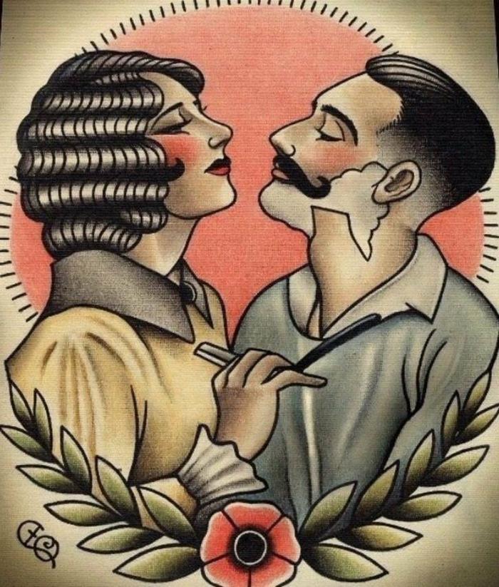 tatuajes old school diseños clásicos, originales diseños de tatuajes tradicionales americanos de los años 30, tatuajes old school marineros