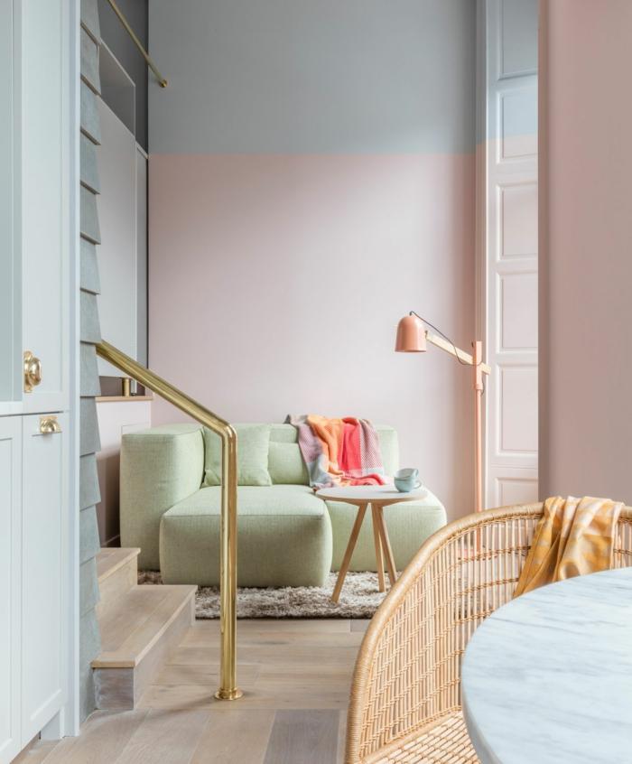 habitaciones pintadas en tonos pastel, precioso diseño de salón decorado en rosado, gris y verde menta