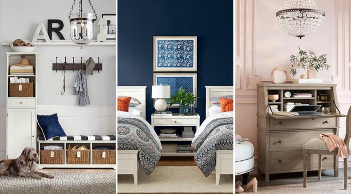 tres propuestas de pintura de paredes en colores modernos 2019, color blanco roto, azul oscuro y rosado claro