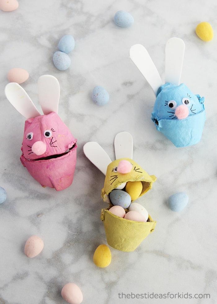manualidades con hueveras para Pascua, detalles coloridos DIY en tonos pastel, manualidades con hueveras