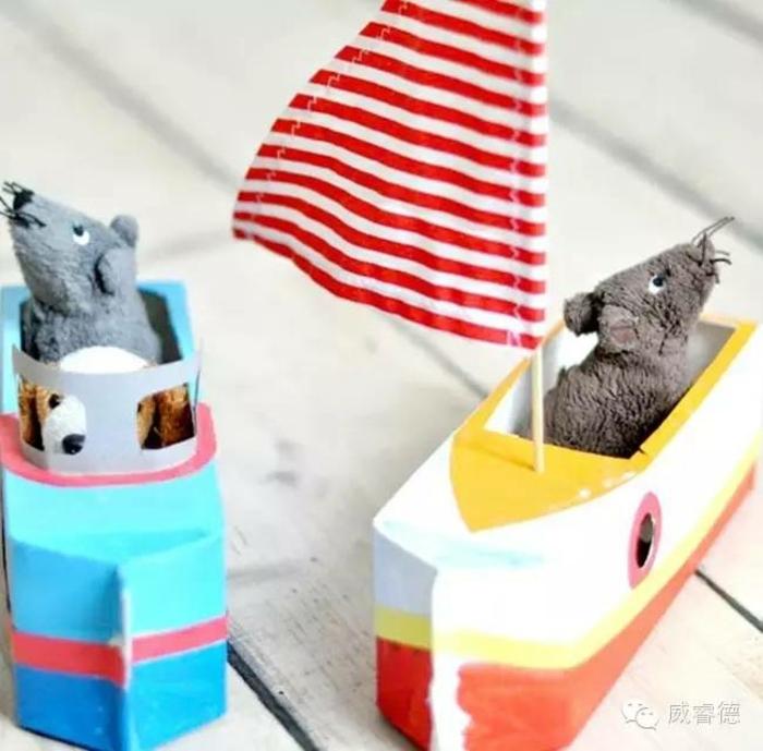 ideas de manualidades con cajas de carton para los niños, cajas de leche pintadas en colores y personalizadas