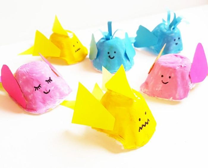 decoración DIY de hueveras de cartón, mini peces hechas con cartón reutilizado, ideas de manualidades con carton