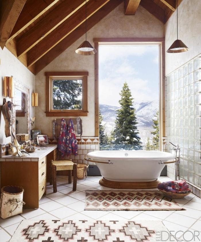 ideas de reformas de baño, baño decorado en estilo rústico, cuarto de baño con vista, espacio abuhardillado, techo con vigas