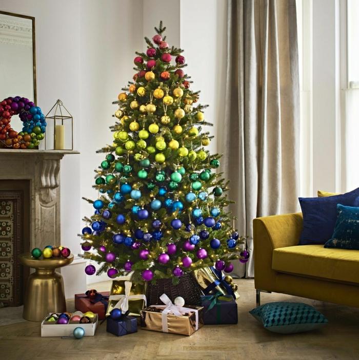 últimas tendencias en decoración de árboles navideños, bolas relucientes en los colores del arco iris, arboles de navidad originales