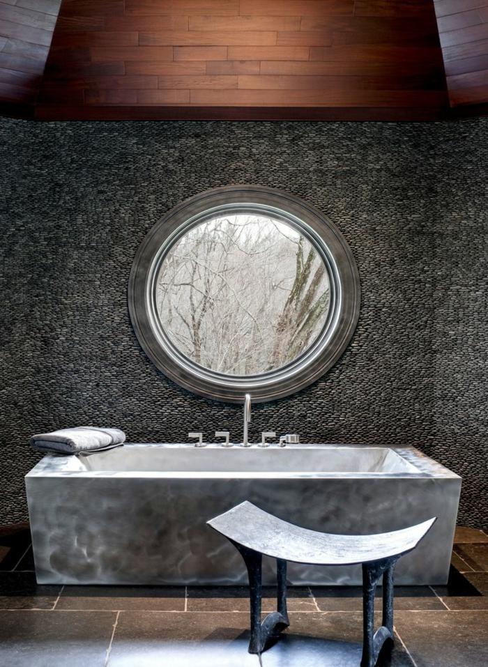 precioso baño en gris decorado en estilo contemporáneo, cuartos de baño de diseño con muebles modernos