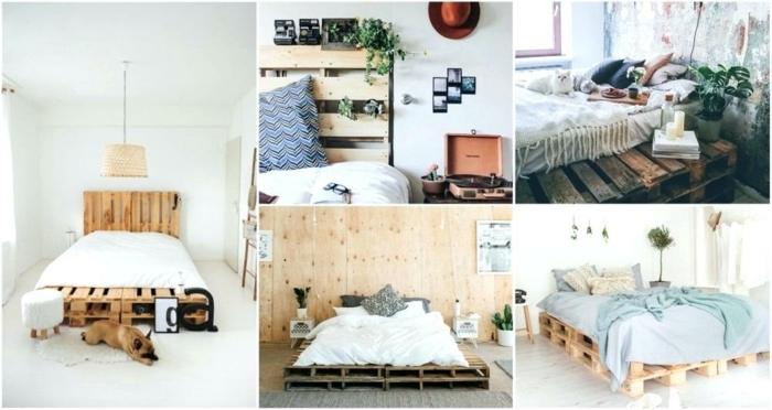 ingeniosas propuestas sobre muebles con palets, dormitorios acogedores con camas DIY hechas con palets