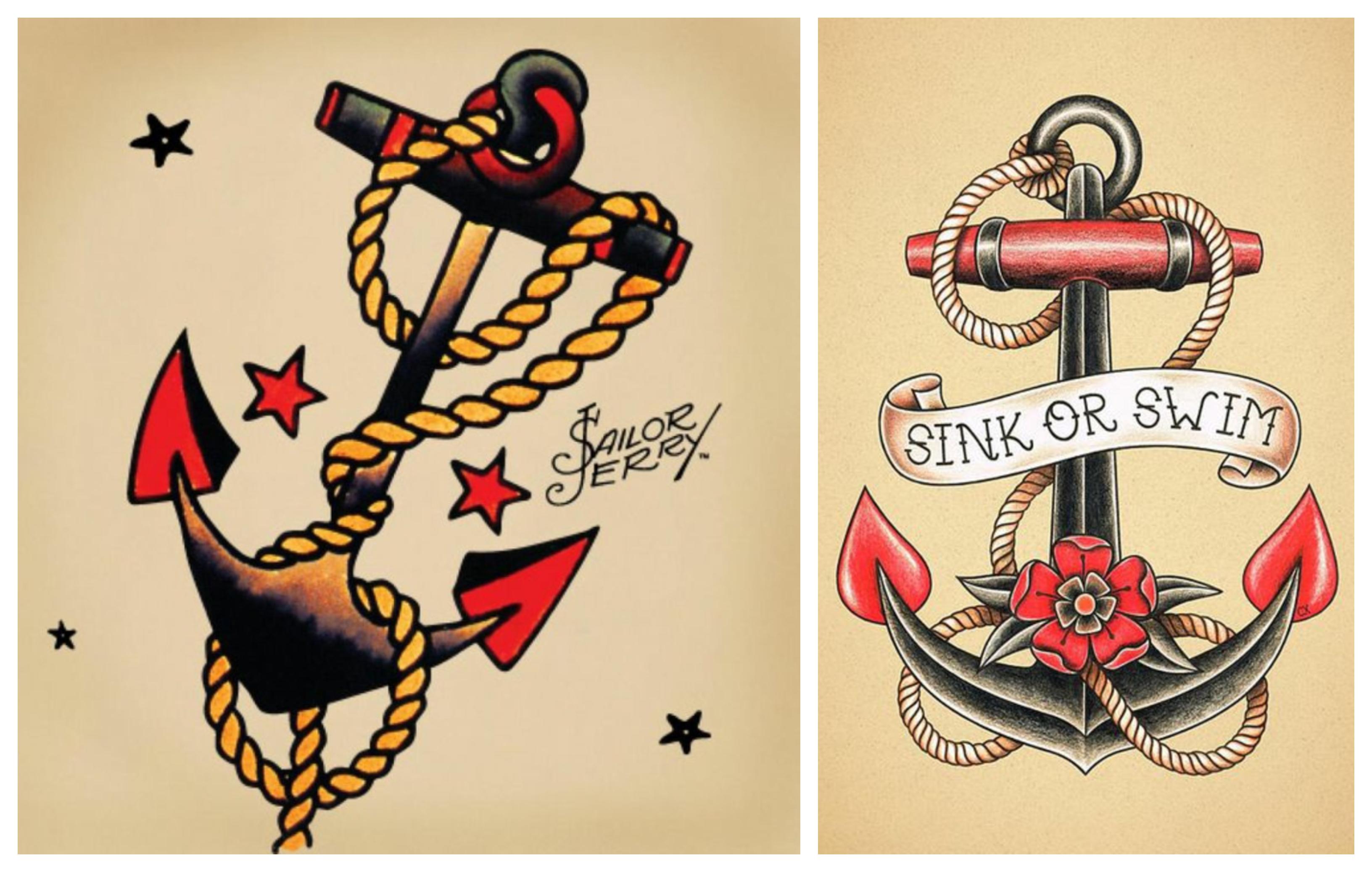 típicos símbolos de los tatuajes tradicionales americanos, tattoos con anclas, tatuajes para hombres en el brazo