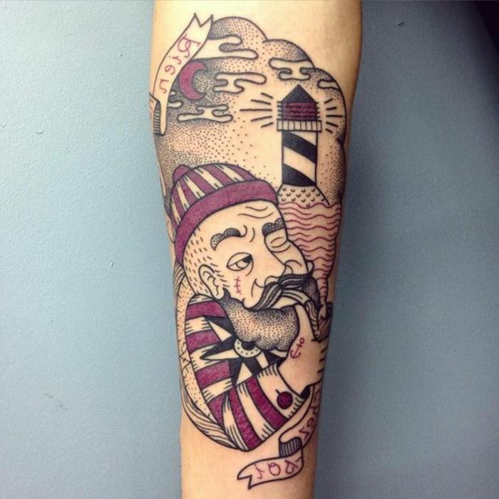 tatuajes old school hombre brazo, ideas de tatuajes para hombres en el brazo clásicos, dibujo Popaye el marinero, tatuaje en el antebrazo en rojo y negro