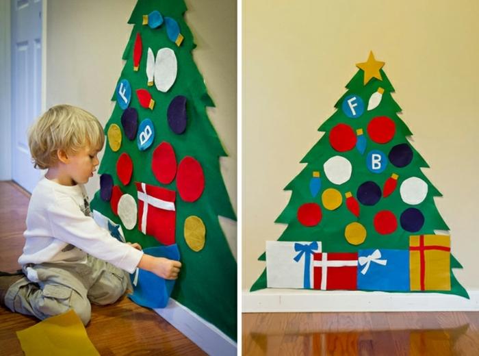 ideas originales de decoración navideña DIY, arbol de navidad de fieltro, precioso árbol de fieltro en la pared