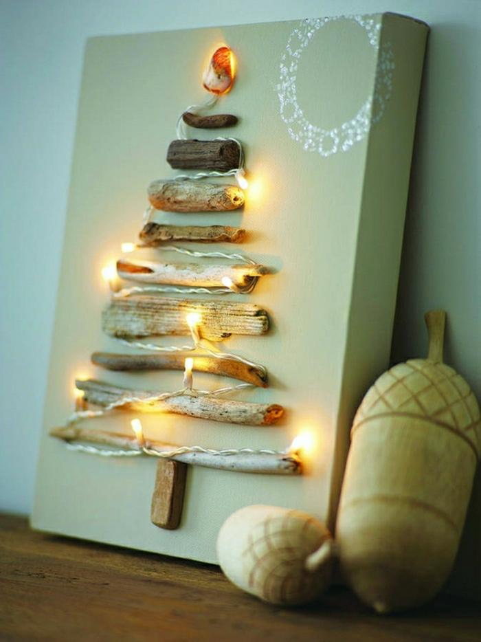 pequeño cuadro decorativo, arbol de navidad de madera, decoración DIY para un ambiente en estilo rústico