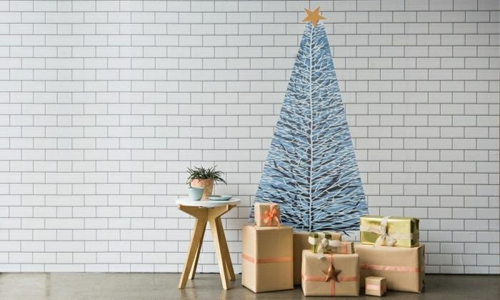 alucinantes ideas de decoración navideña 2018, paredes con vinilo, ideas de arbol de navidad casero