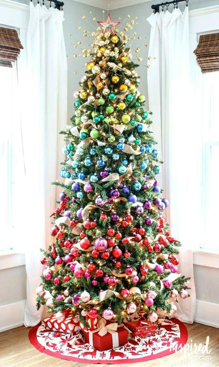 últimas tendencias decoración navideña 2018 2019, árbol de navidad arco iris, como decorar un arbol de navidad con encanto