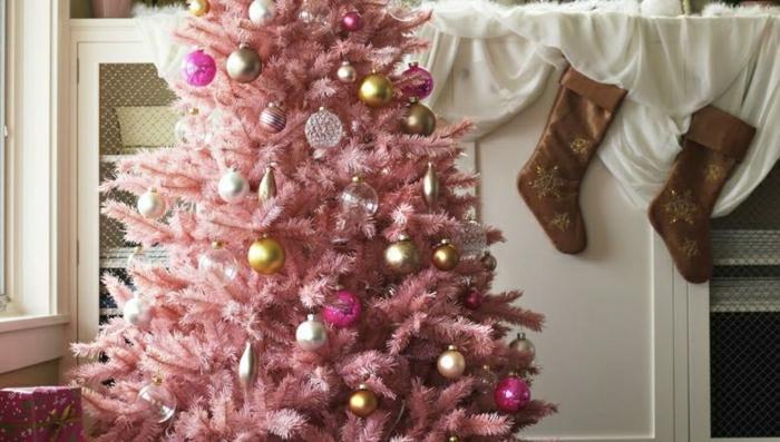 como decorar un arbol de navidad en rosado, adornos navideños en rosado, plateado y dorado