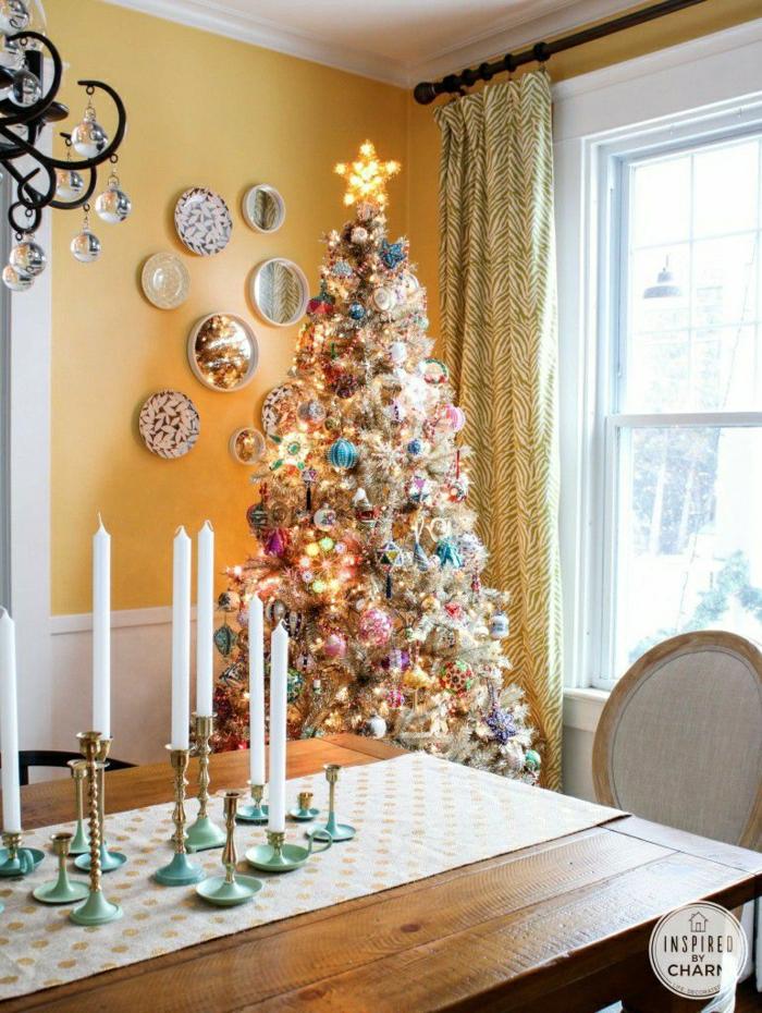 preciosa decoración en colores pasteles, como decorar un arbol de navidad 2018, comedor decorado en estilo vintage