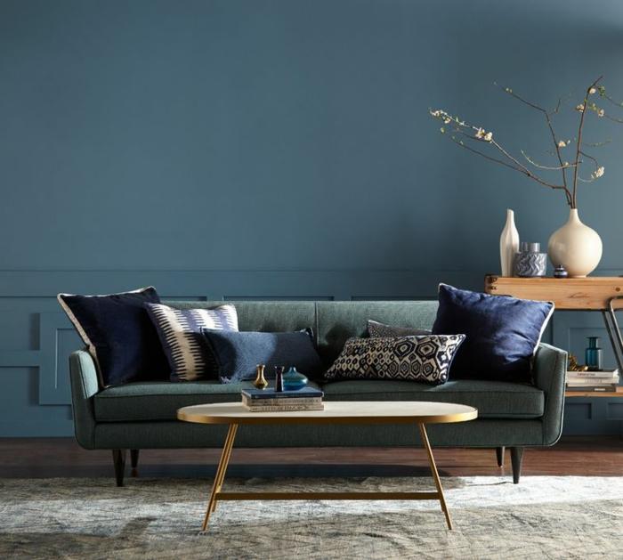 colores para paredes de salon, precioso salón decorado en estilo contemporáneo en verde y azul, decoración minimalista