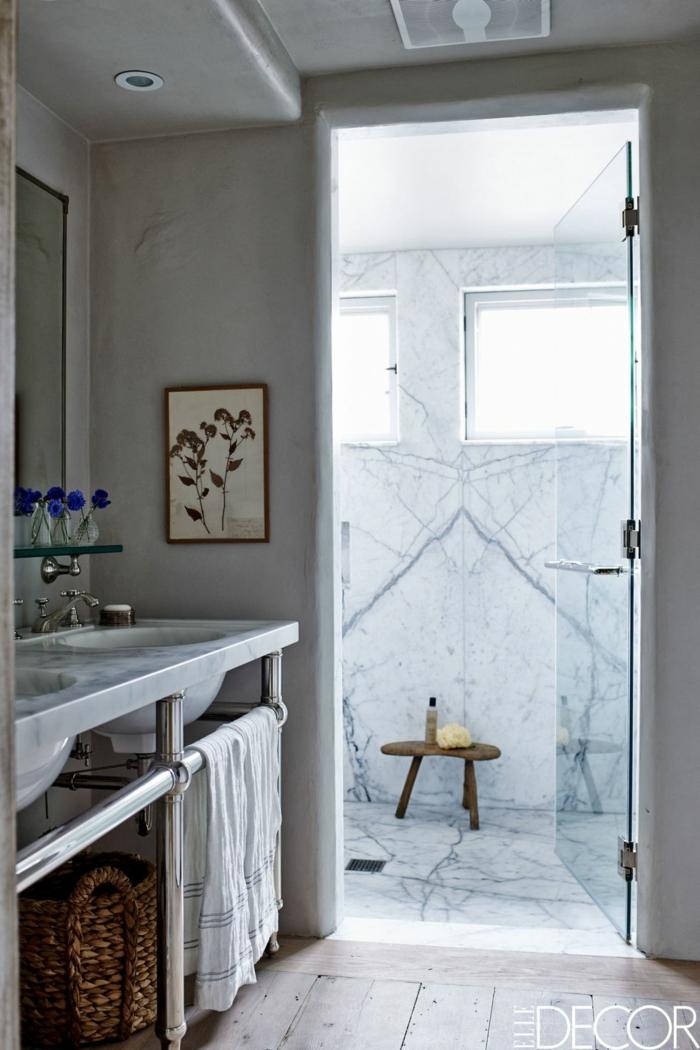 decoracion baños pequeños en estilo nórdico, cuartos de baño con azulejos de mármol, decoración estilo escandinavo