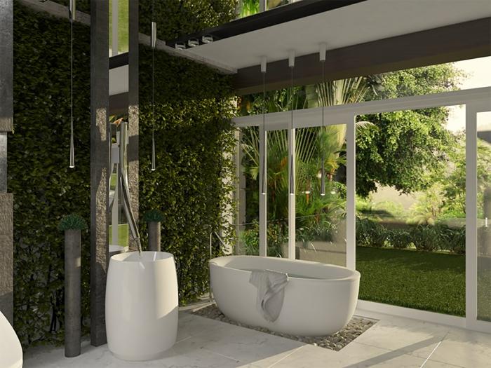 decoración original baños modernos, baño abierto al jardín, decoración plantas verdes, muebles modernos