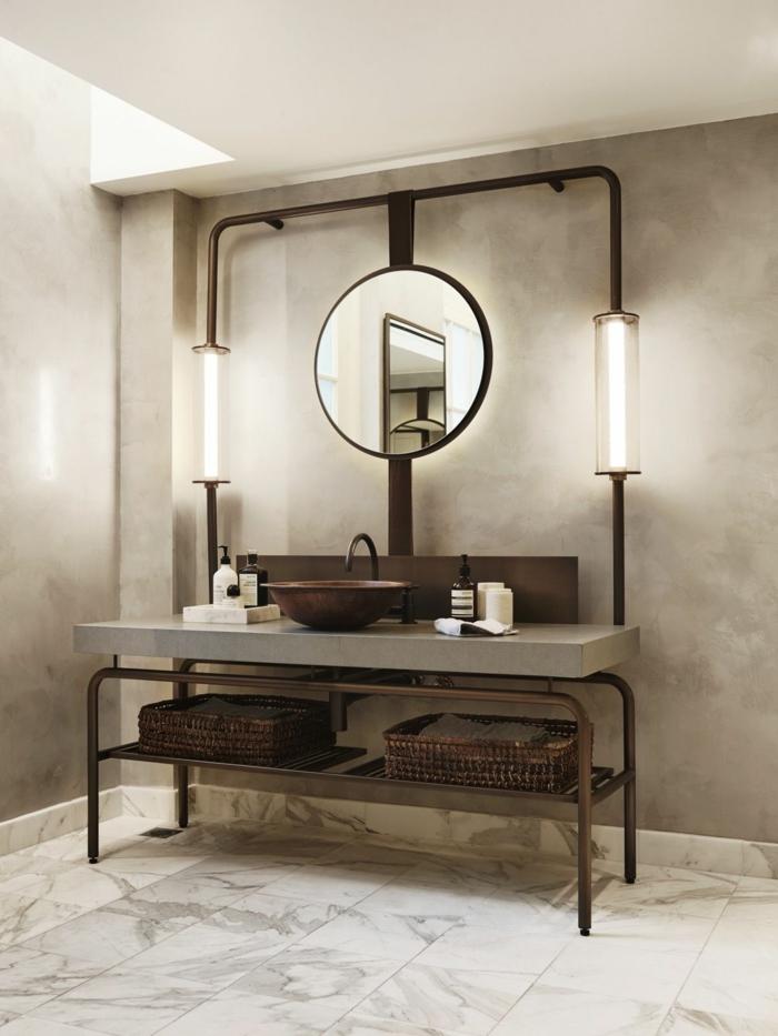 ideas de baños grises, cuarto de baño moderno decorado en estilo industrial, paredes de hormigón, suelo de baldosas