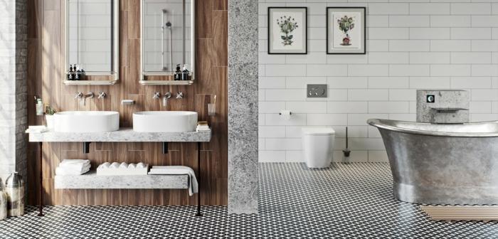 baños grises decorados de diseño, bañera en estilo vintage, azulejos de diseño en blanco y negro