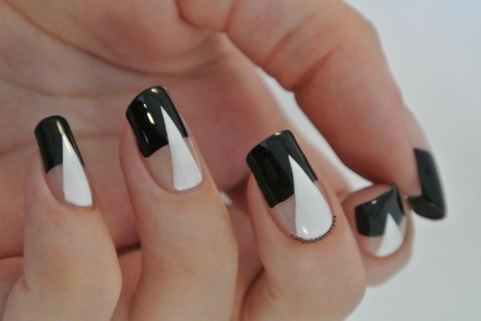 uñas acrilicas moderna decoradas en blanco y negro con elementos geométricos, últimas tendencias en uñas