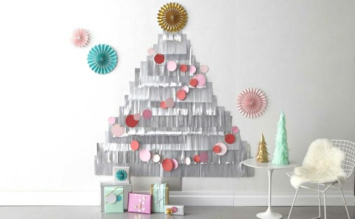 como adornar un arbol de navidad de manera original, árbol de navidad DIY de papel, adornos en colores pastel