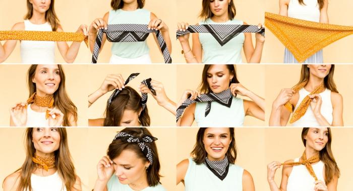 cuatro ingeniosas propuestas sobre como poner un fular, pañuelos pequeños puestos en el cuello y la cabeza paso a paso