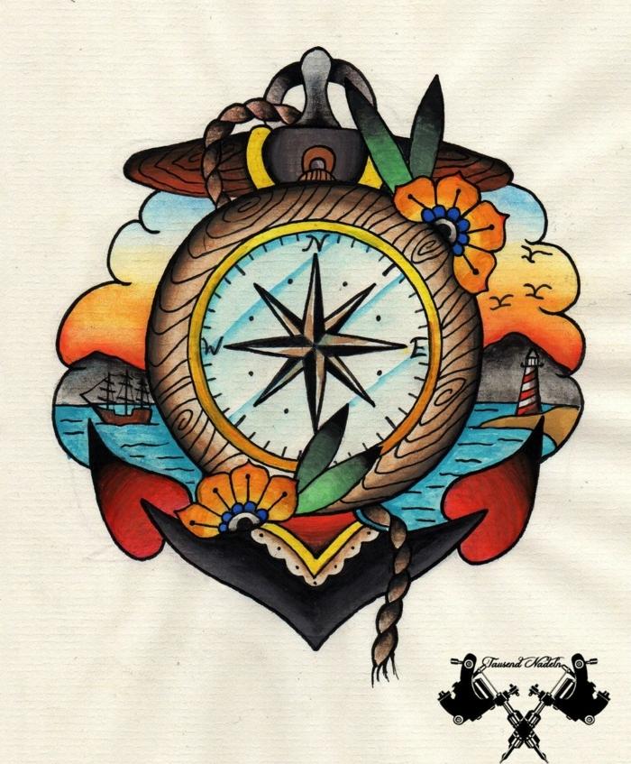 típicos símbolos tatuajes para hombres en el brazo, rosa de los vientos tatuaje, ideas de tatuajes para hombres y mujeres
