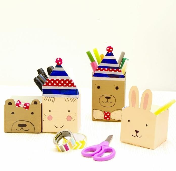 simpáticas ideas de manualidades con cajas de carton, pequeñas cajas personalizadas con caras de animales dibujadas