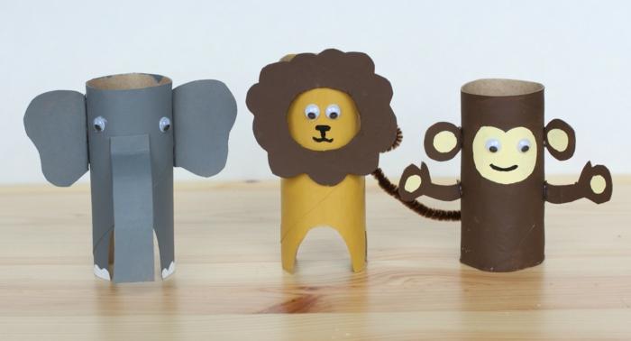 manualidades con rollos de papel higienico para los pequeños, animalitos DIY hechos de tubos de cartón