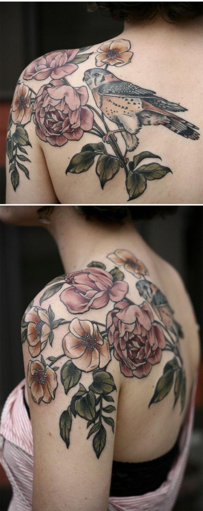 tatuajes tradicionales con motivos florales,grande tatuaje en la espalda, tattoo con peonias, tatujes old school golondrinas