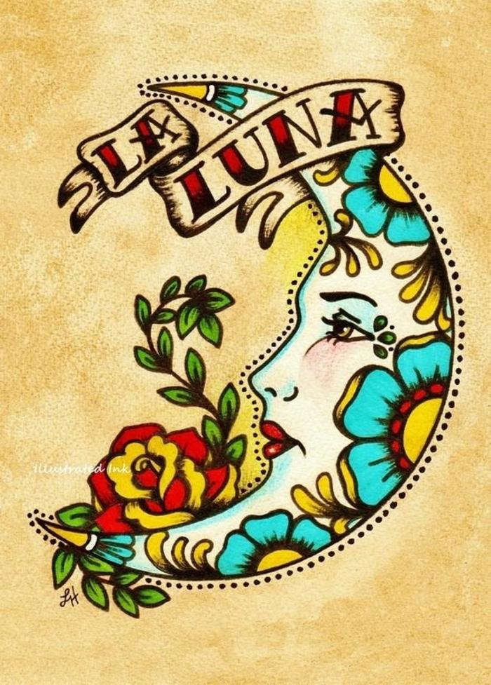 diseños emblemáticos de tatuajes tradicionales, tatuajes vintage para hombres y mujeres, tattoo luna con motivos florales