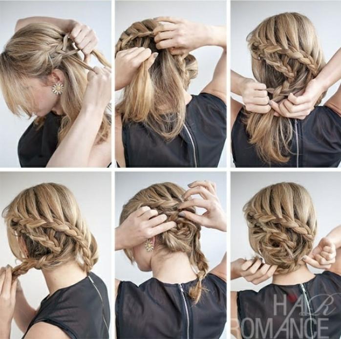 bonitas ideas de peinados recogidos faciles, larga melena rubia con trenzado original paso a paso