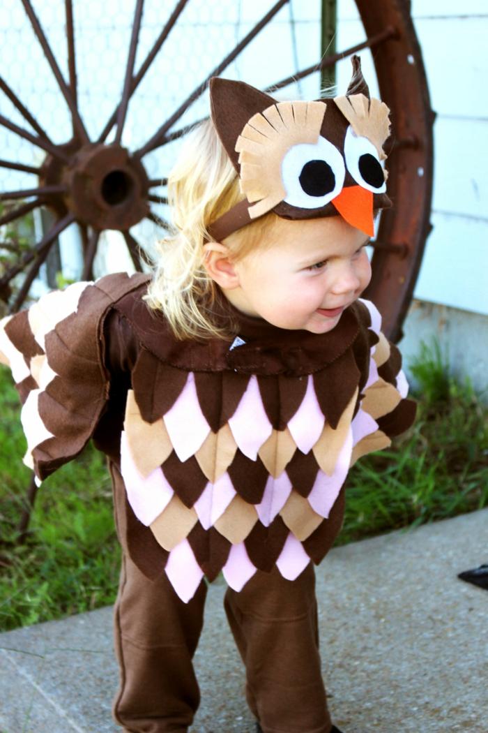 disfraces caseros carnaval para niños, disfrace de búho hecho de fieltro, creativas ideas de disfraces DIY