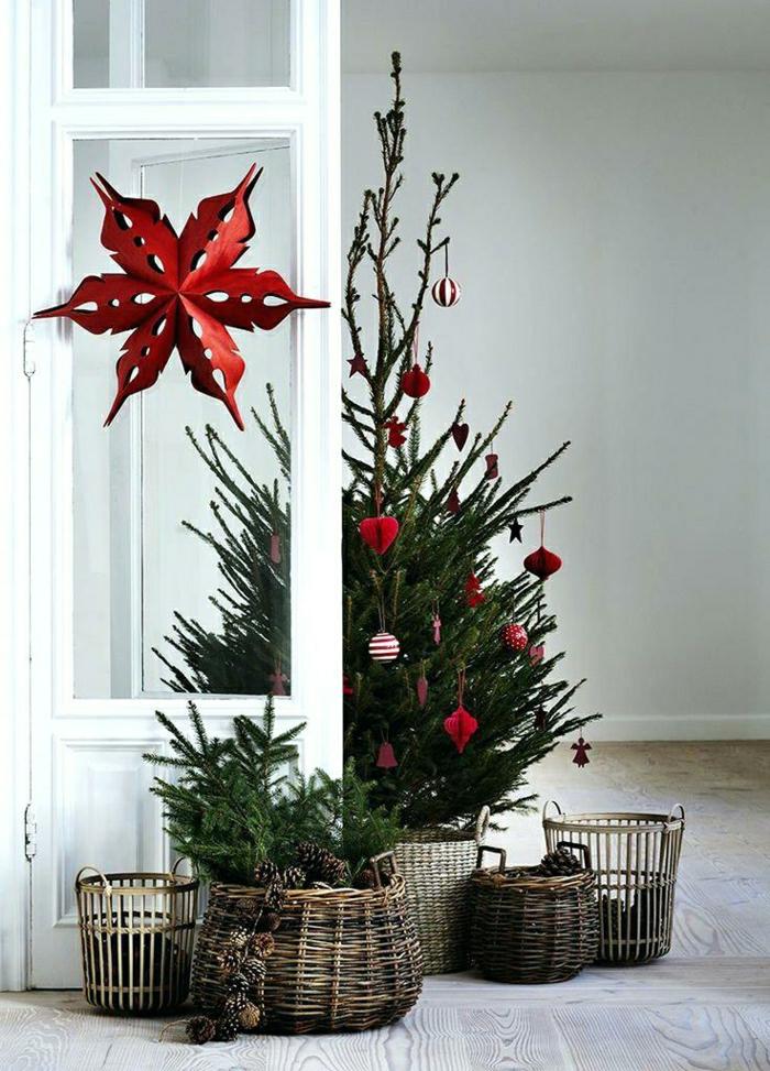 ideas sobre como adornar un arbol de navidad en estilo rústico, decoración minimalista con adornos en rojo