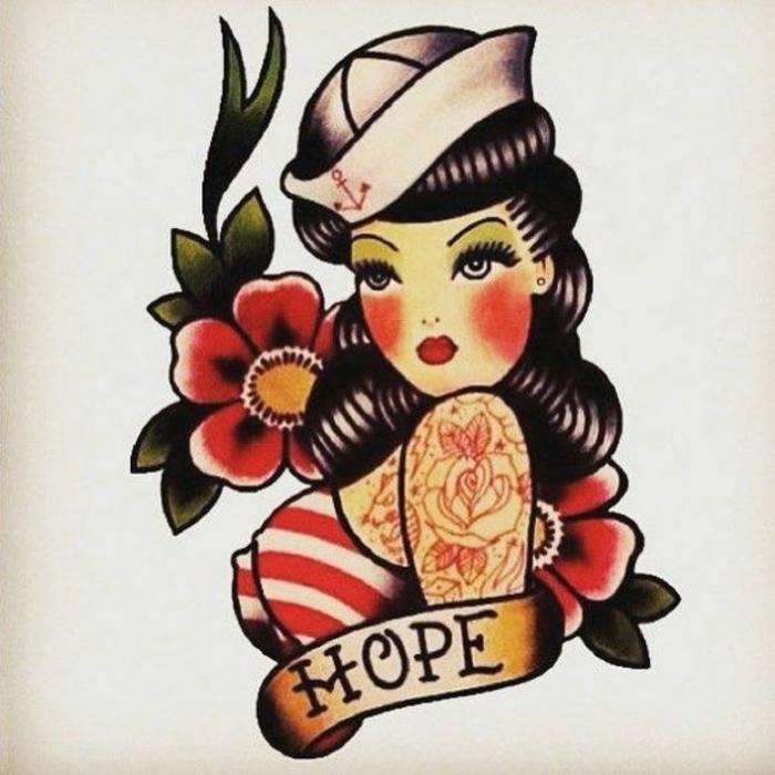 símbolos típicos de los tatuajes old school americanos, rosa de los vientos tatuaje, chicas pin-up, motivos florales