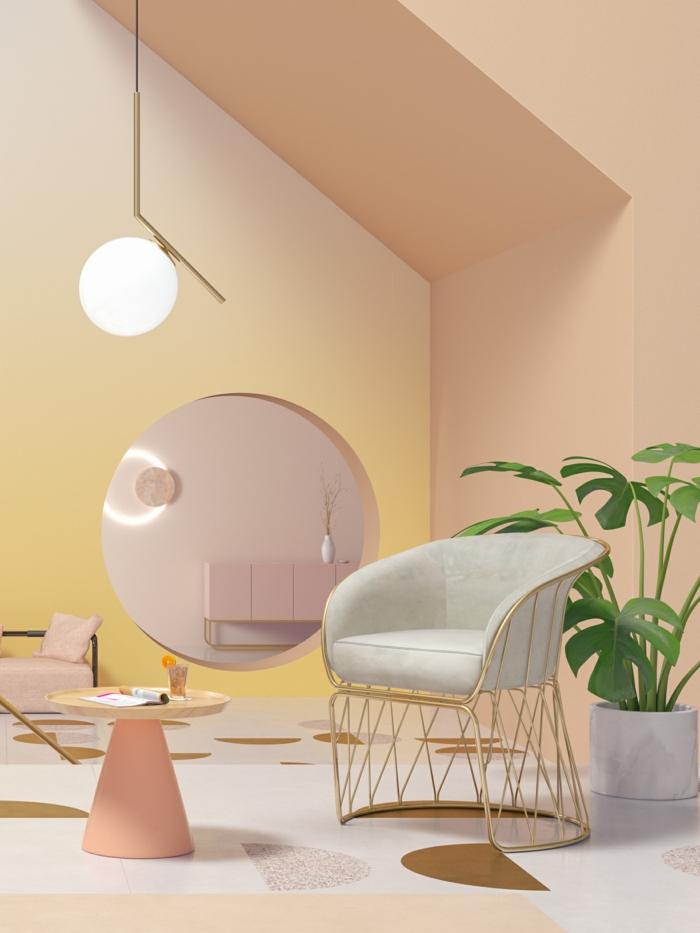 ideas sobre como pintar una habitacion de dos colores, paredes pintadas en terracota claro y amarillo, detalles decorativos en tonos pastel