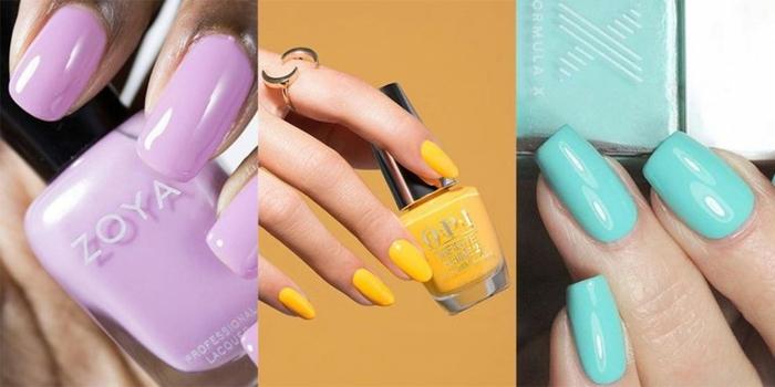 como hacer uñas acrilicas, uñas elegantes pintadas en un solo color, verde menta, amarillo plátano y lila, tendencias en los colores 2019