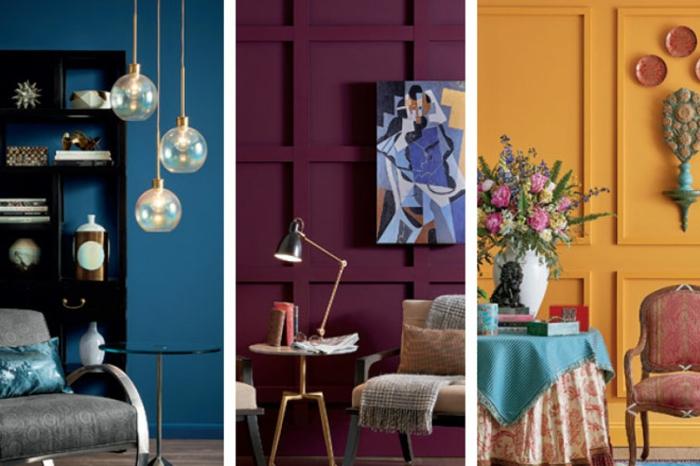 tres ejemplos de habitaciones pintadas en los colores en tendencia 2019, salones en azul oscuro, morado y color naranja