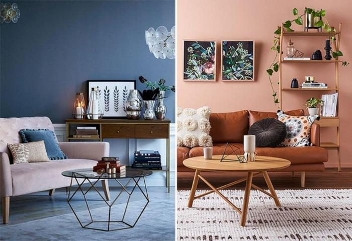 habitaciones pintadas 2019, salones modernos con toques vintage en la decoración, paredes en azul oscuro y color salmón