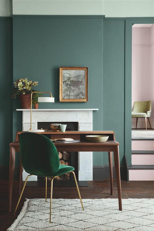 combinaciones de colores en tendencia 2019, qué colores se llevan para pintar un salón, paredes en verde y rosado