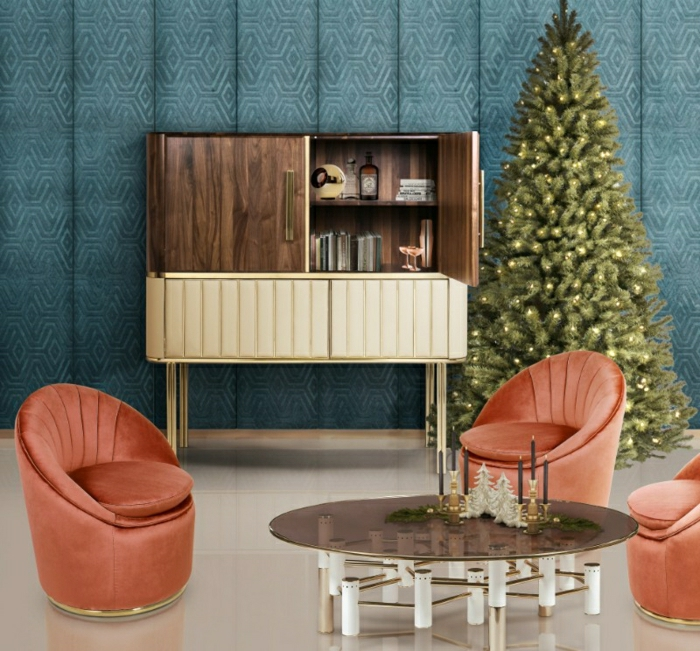 salón de diseño decorado en estilo vintage, paredes con papel pintado, sillas color terracota, como adornar un arbol de navidad en estilo minimalista