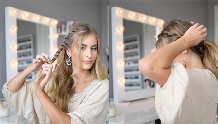 precioso recogido con trenzas paso a paso, ejemplos de peinados con trenzas faciles en bonitas imágenes