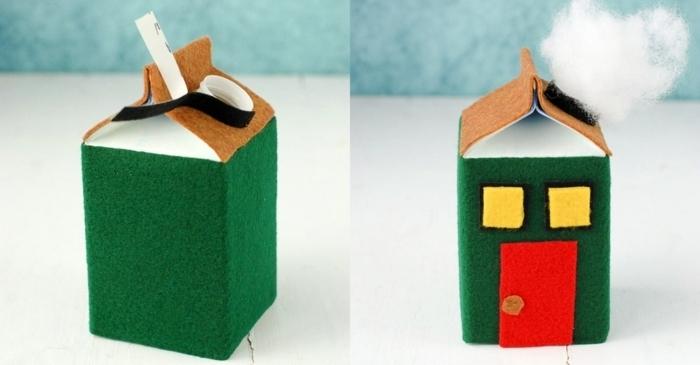 bonitas casitas navideñas DIY hechas de materiales reciclados, manualidades con cartón paso a paso