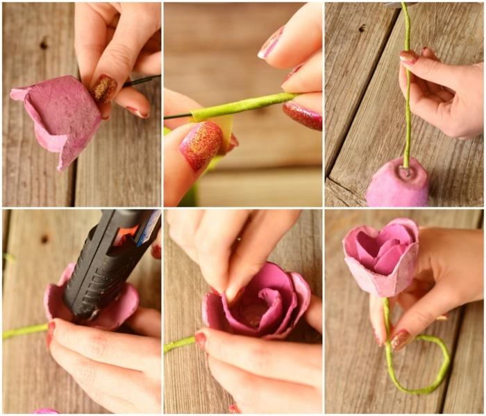 manualidades con rollos de papel higienico rec iclados y hueveras, como hacer unas rosas DIY para tarjetas escolta