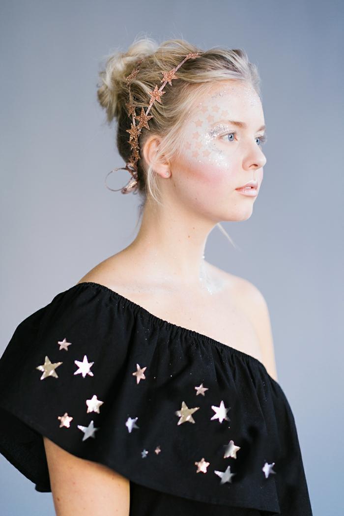 disfraces sencillos de Halloween para mujeres, disfraces sencillos, maquillaje original con estrellas