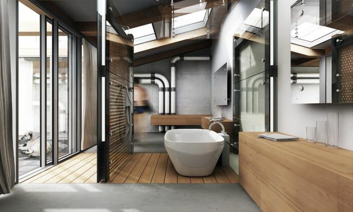 las mejores tendencias de decoración de baño 2018, grande cuarto de baño en estilo industrial