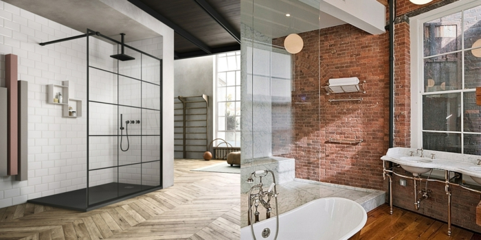 dos ejemplos de cuartos de baño modernos decorados en estilo industrial, reformas de baño paso a paso