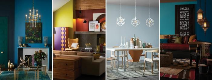 cuatro propuestas de decoración de interiores en colores en tendencia, paredes pintadas originales en tonos intensos