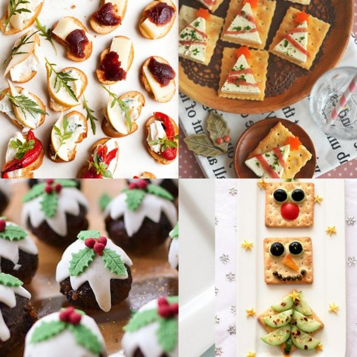 cuatro propuestas sobre como hacer canapes originales decorados para Navidad, tostadas ricas